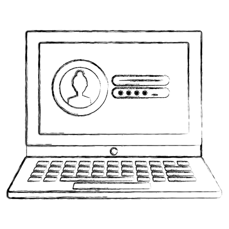 laptop computer with login count vector illustration design Çizim