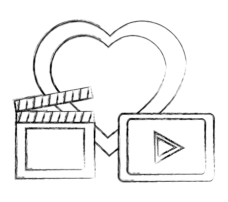 clapper board with player and heart vector illustration design