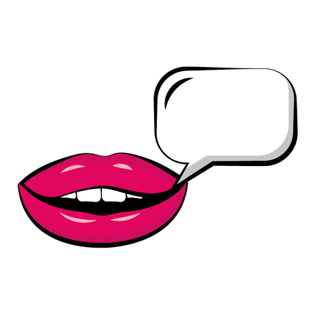 Female lips with speech bubble pop art style vector illustration design Vettoriali