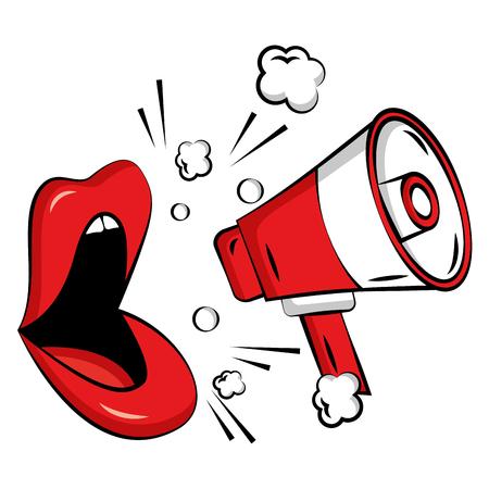 Labios femeninos con megáfono estilo pop art, diseño de ilustraciones vectoriales Ilustración de vector