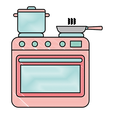 oven kitchen with pot and pan vector illustration design Ilustração