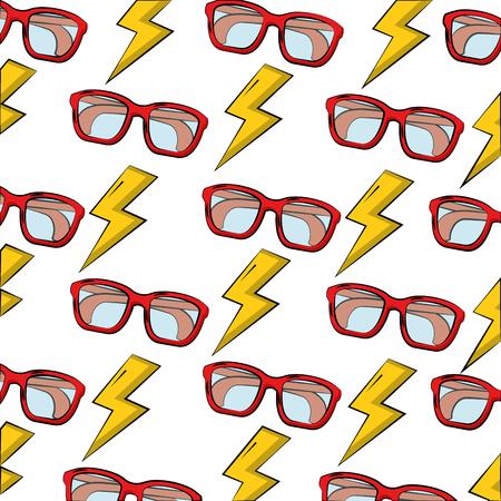 eye glasses with thunders pattern vector illustration design