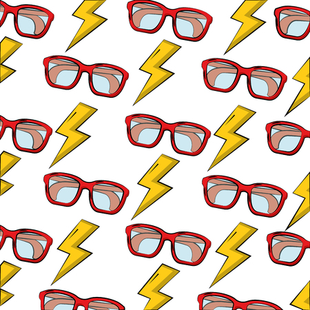 eye glasses with thunders pattern vector illustration design