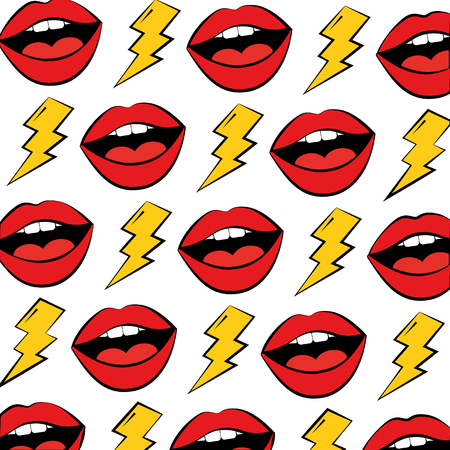 female lips and thunders pop art style pattern vector illustration design Ilustrace