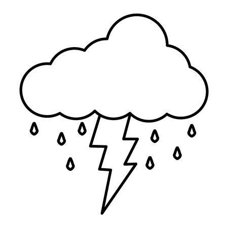 Nuvola con progettazione dell'illustrazione di vettore della tempesta di tuoni