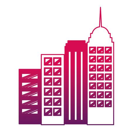 city buildings architecture skyscrapers image vector illustration degraded design
