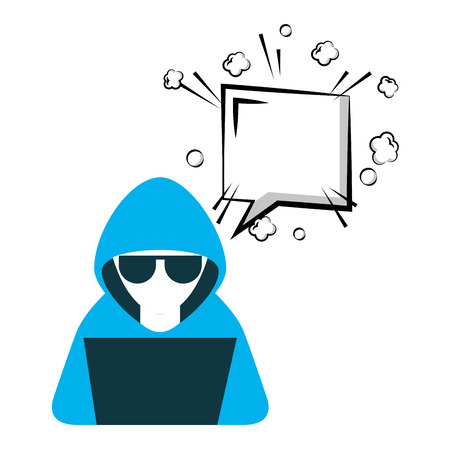 hacker with laptop and speech bubble character vector illustration design Illustration