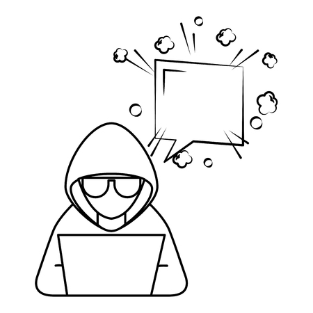 hacker with laptop and speech bubble character vector illustration design Иллюстрация