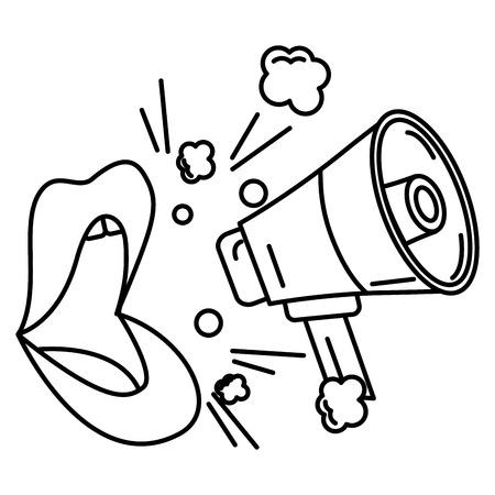 Pop art comic lips and megaphone announce vector illustration outline Standard-Bild - 100460847