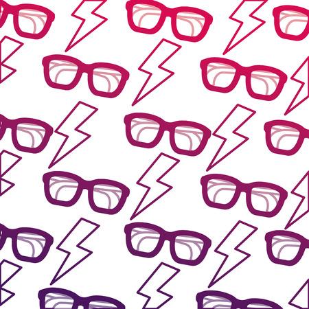 Background glasses lightning retro pop art comic vector illustration degraded design Illustration