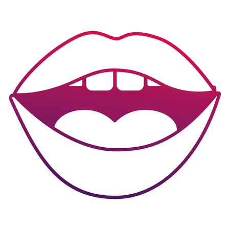Pop art comic woman mouth lips sensual vector illustration degraded design