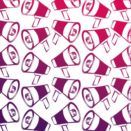 pattern design megaphone device announcement vector illustration degraded design