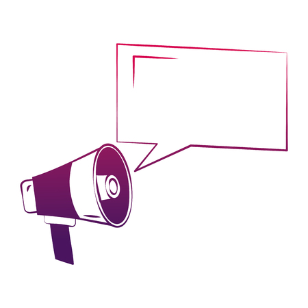 megaphone with speech bubble advertising vintage vector illustration degraded design