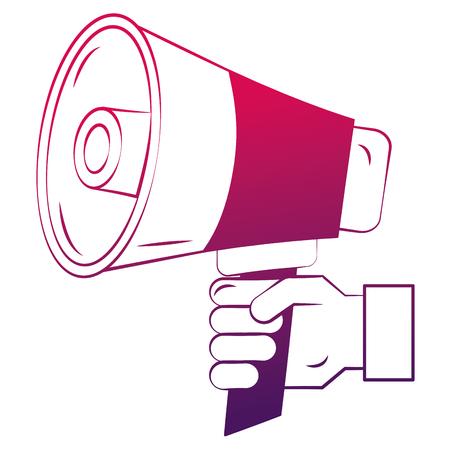 Hand holding megaphone promotion concept vector illustration degraded design