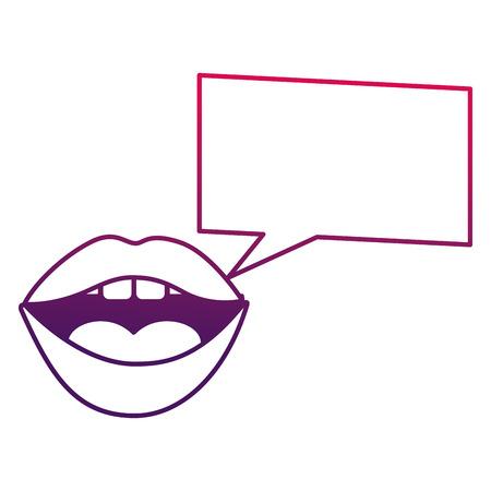 Woman mouth square speech bubble pop art vector illustration degraded design