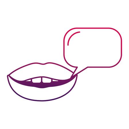 Pop art woman lips speech bubble comic vector illustration degraded design Banque d'images - 100460858