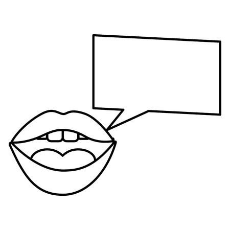woman mouth square speech bubble pop art vector illustration outline Фото со стока - 100489235