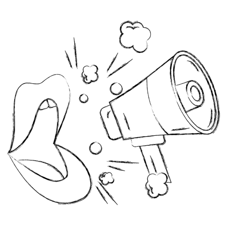 Pop art comic lips and megaphone announce vector illustration sketch