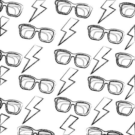 Background glasses lightning retro pop art comic vector illustration sketch Illustration