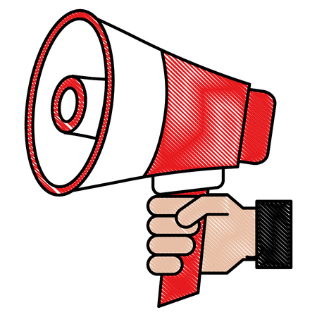 Hand holding megaphone promotion concept vector illustration Illustration