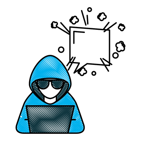 Hacker working in laptop speech bubble vector illustration