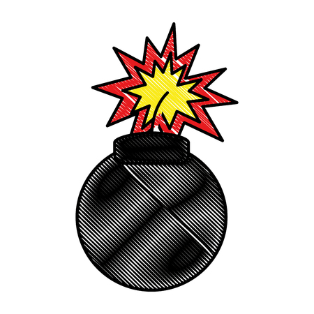 Comic pop art bomb expolsion image vector illustration