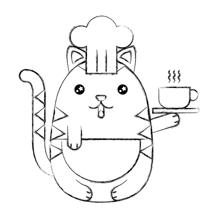 Cute cat chef with coffee cup cartoon vector illustration sketch