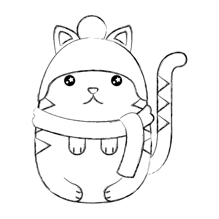 Cute cat wearing winter scarf hat vector illustration sketch