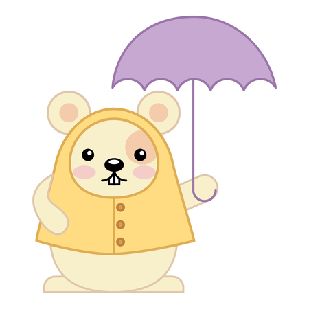 cute hamster with umbrella kawaii character vector illustration design Illustration