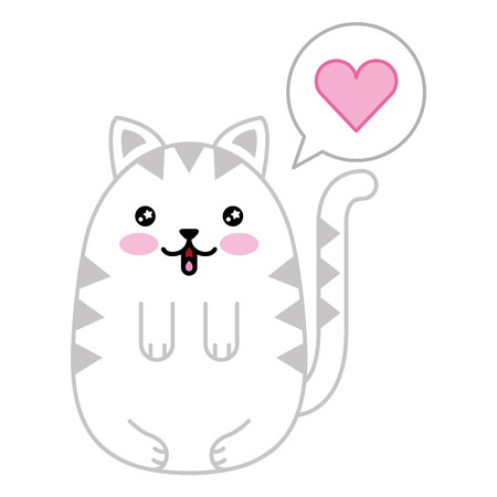 cute cat with speech bubble and heart kawaii character vector illustration design Illustration