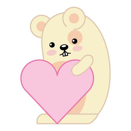 cute hamster with heart kawaii character vector illustration design