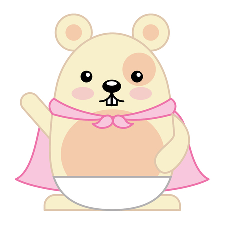 Cute hamster with cloak character vector illustration design Illustration