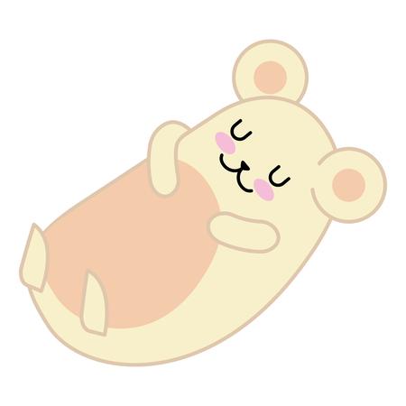 Cute hamster sleeping character vector illustration design