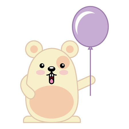 Cute hamster with helium balloon character vector illustration design