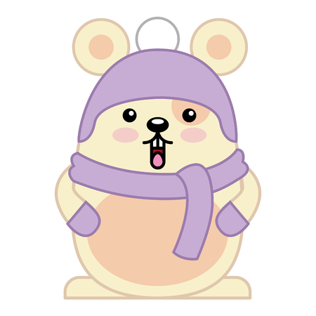 Cute hamster with scarf and hat character vector illustration design