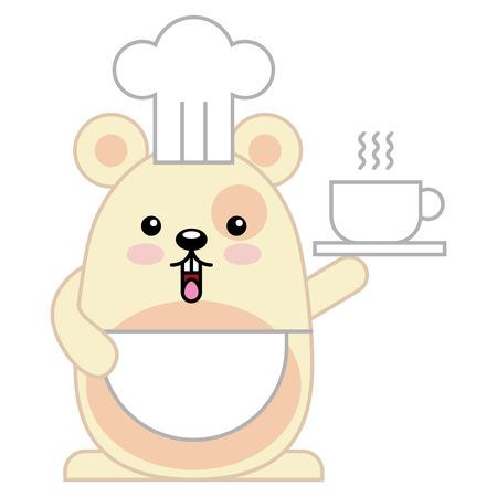 Cute hamster chef character vector illustration design Illustration