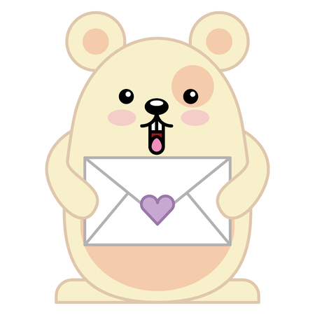 cute hamster with envelope kawaii character vector illustration design Illustration
