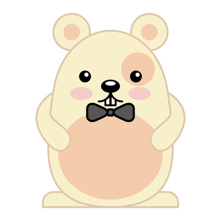 Cute hamster male with bow tie character vector illustration design