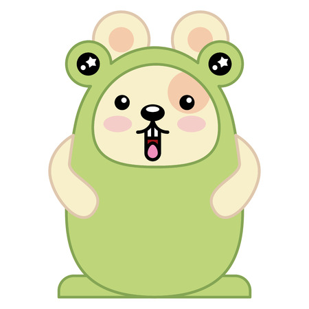 Cute hamster with toad costume character vector illustration design