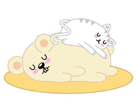 Cute hamster and cat sleeping character vector illustration design Ilustracja