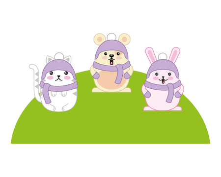 cute animals with scarf and hat kawaii character vector illustration design Illustration