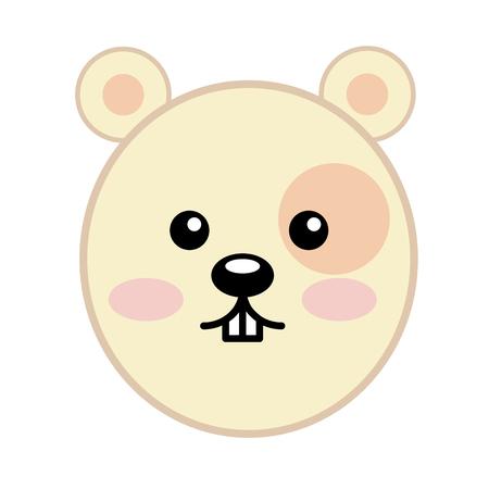head cute hamster kawaii character vector illustration design