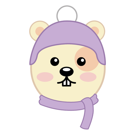 Head cute hamster with scarf and hat character vector illustration design