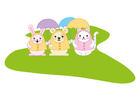 cute animals with umbrella kawaii character vector illustration design Illustration