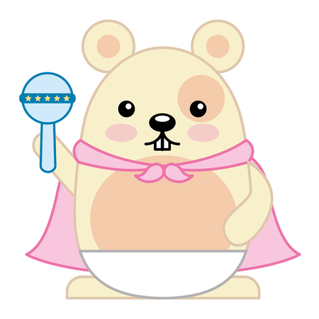 Cute hamster with cloak and jingle bell character vector illustration design