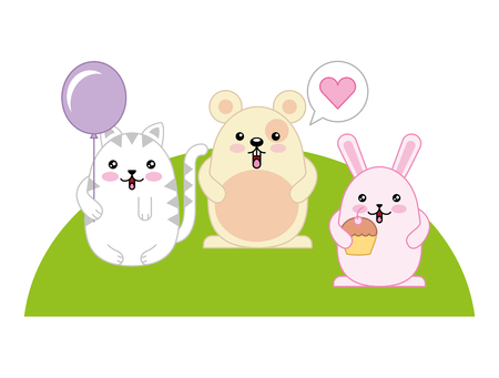 cute animals with speech bubble and helium ballon kawaii character vector illustration design Ilustracja