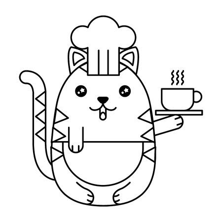 Cute cat chef character vector illustration design Illustration