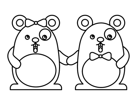 Couple cute hamsters  character vector illustration design