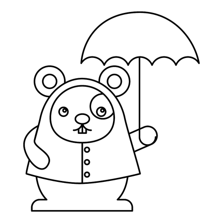 Cute hamster with umbrella character vector illustration design