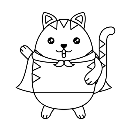 Cute cat with cloak character vector illustration design